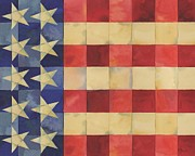 Patriotic Paintings - Quilted Flag Horizontal by Paul Brent