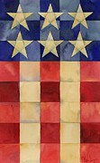 Patriotic Paintings - Quilted Flag Vertical by Paul Brent