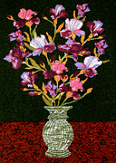 Quilt Collage Tapestries - Textiles Metal Prints - Quilted Irises Metal Print by Jean Baardsen
