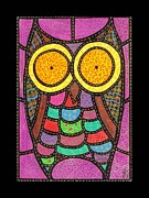 Colorful Owl Paintings - Quilted Owl by Jim Harris