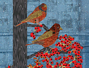 Meditative Digital Art - Quilted Rain Birds by Kim Prowse