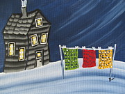 Cabin Window Paintings - Quilts-cloths line-Crooked Cabin by Beverly Livingstone