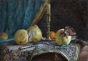 Candle Painting Originals - Quince by Korobkin Anatoly