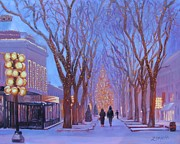 Winter Trees Painting Posters - Quincy Market at Twilight Poster by Laura Lee Zanghetti