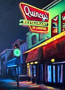 Restaurant Signs Paintings - Quincys on Quinpool Road in Halifax by John Malone Halifax Art