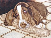 On Wood Pyrography Pyrography - Quincys Time Out by Roger Storey