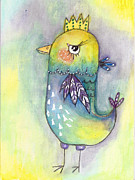 Quirky Mixed Media Framed Prints - Quirky Bird Framed Print by Margo Darretta