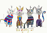 Featured Drawings - Quirky Cats by Brian Buckley