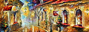 Old Street Metal Prints - Quite Morning Metal Print by Leonid Afremov