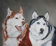 Siberian Husky Paintings - Quite The Pair by Renee Catherine Wittmann