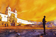 Watercolor Society Prints - Quito Sunrise Print by Ryan Fox