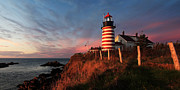 Red Buildings Prints - Quoddy Head at Sunrise Print by ABeautifulSky  Photography