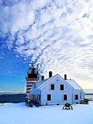 Winter Scene Digital Art Metal Prints - Quoddy Head Lighthouse in Winter 1 Metal Print by ABeautifulSky  Photography