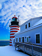 Winter Digital Photo Scene Posters - Quoddy Head Lighthouse in Winter 2 Poster by ABeautifulSky  Photography