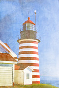 Atlantic Digital Art - Quoddy Lighthouse Lubec Maine by Carol Leigh