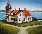 Maine Shore Painting Originals - Quoddy Lighthouse Lubec Maine by Melinda Saminski