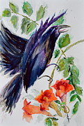 Blue Trumpet Flower Prints - Quoi II Print by Beverley Harper Tinsley