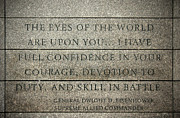 Eisenhower Prints - Quote of Eisenhower in Normandy American Cemetery and Memorial Print by RicardMN Photography