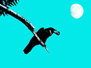 Gothic Crows Prints - Quoth The Raven Nevermore . Cyan Print by Wingsdomain Art and Photography