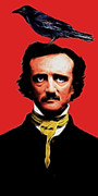 Edgar Alan Poe Metal Prints - Quoth The Raven Nevermore - Edgar Allan Poe - Electric Metal Print by Wingsdomain Art and Photography