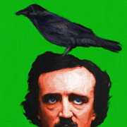 Crazy Prints - Quoth The Raven Nevermore - Edgar Allan Poe - Painterly - Green - Square Print by Wingsdomain Art and Photography