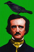Author Digital Art Framed Prints - Quoth The Raven Nevermore - Edgar Allan Poe - Painterly - Green - Standard Size Framed Print by Wingsdomain Art and Photography