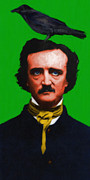 Mustache Prints - Quoth The Raven Nevermore - Edgar Allan Poe - Painterly - Green Print by Wingsdomain Art and Photography