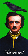 Edgar Alan Poe Metal Prints - Quoth The Raven Nevermore - Edgar Allan Poe - Painterly - Green - With Text Metal Print by Wingsdomain Art and Photography