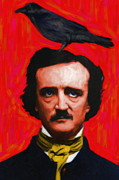 Authors Framed Prints - Quoth The Raven Nevermore - Edgar Allan Poe - Painterly - Red - Standard Size Framed Print by Wingsdomain Art and Photography