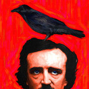 Edgar Alan Poe Metal Prints - Quoth The Raven Nevermore - Edgar Allan Poe - Painterly - Square Metal Print by Wingsdomain Art and Photography