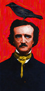 Edgar Alan Poe Metal Prints - Quoth The Raven Nevermore - Edgar Allan Poe - Painterly Metal Print by Wingsdomain Art and Photography