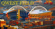 Seahawks Posters - Qwest Field Seattle Poster by David Lee Thompson