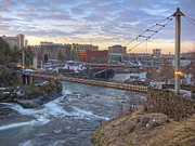 Spokane Framed Prints - R F P PEDESTRIAN BRIDGE at SUNRISE - SPOKANE WASHINGTON Framed Print by Daniel Hagerman