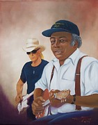 Blues Painting Originals - R L Burnside and Kenny Brown by Helen Thomas