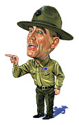 Exaggerart Painting Framed Prints - R. Lee Ermey as Gunnery Sergeant Hartman Framed Print by Art