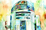Watercolors Painting Metal Prints - R2-d2 Watercolor Portrait Metal Print by Fabrizio Cassetta