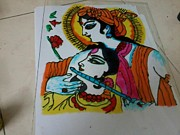 With Glass Art Framed Prints - Raadha- Krishna Framed Print by Monu Rekhi