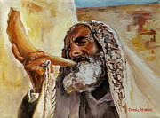 Prayer Shawl Paintings - Rabbi Blowing Shofar by Carole Spandau