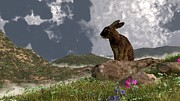 Hare Digital Art Prints - Rabbit After a Spring Storm Print by Daniel Eskridge