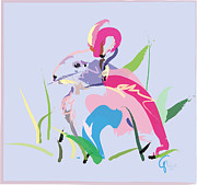 Digitals Prints - Rabbit - Bunny In Color Print by Go Van Kampen