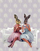 Chat Digital Art Posters - Rabbit Chat Poster by Kelly McLaughlan