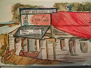 Ohio River Painting Posters - Rabbit hash General Store Poster by Elaine Duras