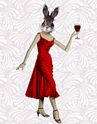 Wine Prints Posters - Rabbit in a Red Dress Poster by Kelly McLaughlan