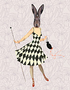 Wall Decor Greeting Cards Prints - Rabbit in Black and White Dress Print by Kelly McLaughlan