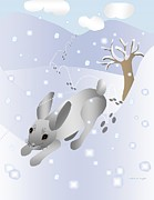 Animal Tracks Digital Art - Rabbit in Snow by Debra Boyle