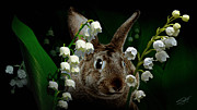 Rabbit Digital Art Framed Prints - Rabbit in the Lillies Framed Print by IM Spadecaller