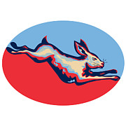 Rabbit Digital Art Metal Prints - Rabbit Jumping Side Retro Metal Print by Aloysius Patrimonio