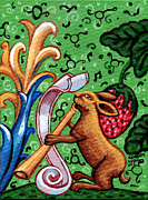 Children Print Painting Originals - Rabbit Plays The Flute by Genevieve Esson