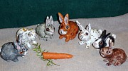 Easter Ceramics Originals - Rabbit sculpture Lucky rabbits 4 intact rabbit feet by Debbie Limoli
