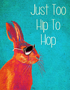 Orange Framed Prints Posters - Rabbit Too Hip To Hop Blue Poster by Kelly McLaughlan